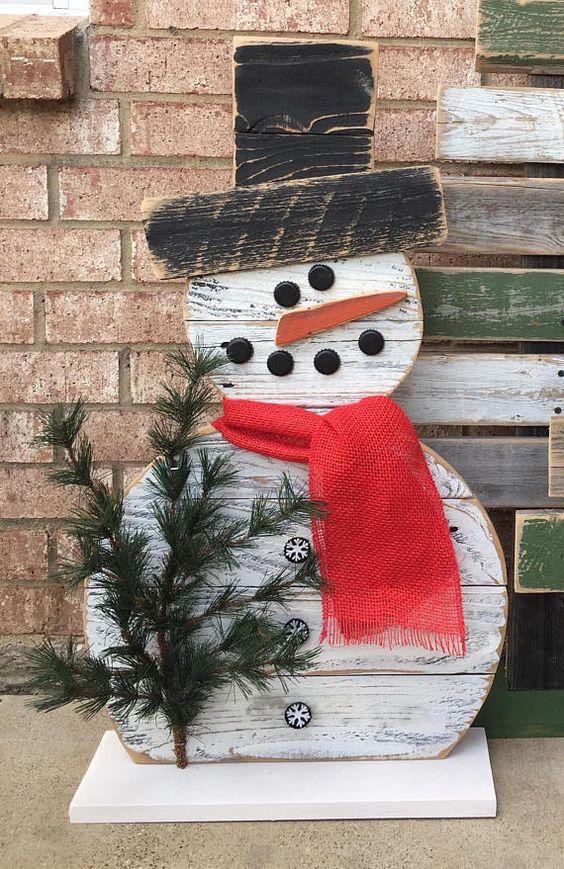 DIY Bonhomme de neige en bois