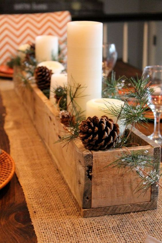 DIY centre de table bois et bougies