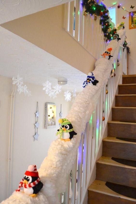 Déco noel escalier piste neige
