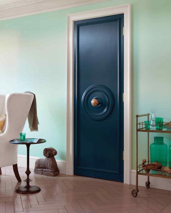 Relooking porte bleu