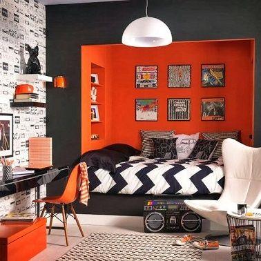 Mur orange déco