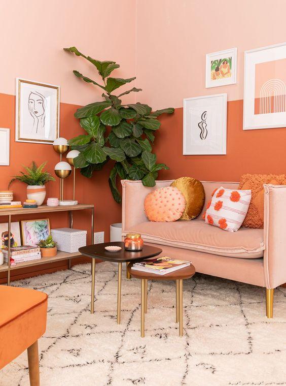 orange déco mur