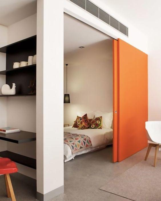Orange déco porte placard